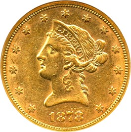 Image of 1878 $10 NGC/CAC AU53