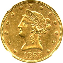 Image of 1853 $10 NGC/CAC AU55