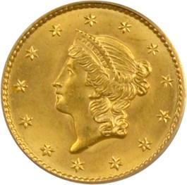 Image of 1849 G$1 PCGS MS65 (Open Wreath)