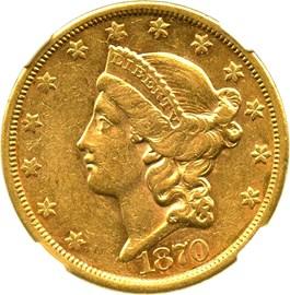 Image of 1870-S $20 NGC/CAC AU53