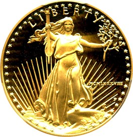Image of 1988-P Gold Eagle $25 PCGS Proof 69 DCAM