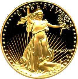 Image of 1987-P Gold Eagle $25 PCGS Proof 69 DCAM