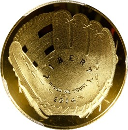 Image of 2014-W Baseball Hall of Fame $5 PCGS Proof 69 DCAM