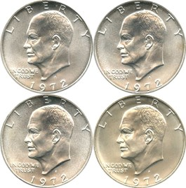 Image of Lot of 1972-S Eisenhower Dollar $1: All PCGS MS67 (Silver, 4 Coins)