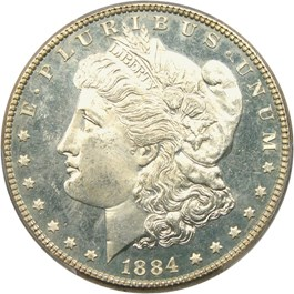 Image of 1884 $1 PCGS MS65 DMPL