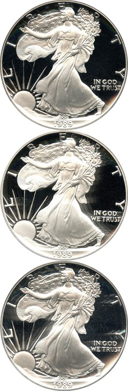 Image of Investor Lot of 1989-S Silver Eagle $1: All PCGS Proof 69 DCAM (3 Coins) - No Reserve!