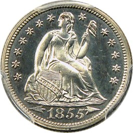 Image of 1855 10c PCGS/CAC Proof 64 CAM (Arrows)