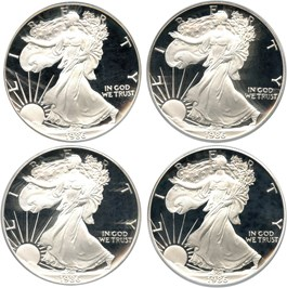 Image of Investor Lot of 1986-S Silver Eagle $1: All PCGS Proof 69 DCAM (4 Coins) - No Reserve!