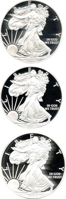 Image of Investor Lot of 2008-W Silver Eagle $1: All PCGS Proof 69 DCAM (3 Coins)