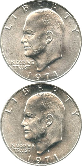 Image of Lot of 1971-S Eisenhower Dollars $1: Both PCGS MS64 (Silver, 2 Coins Total)
