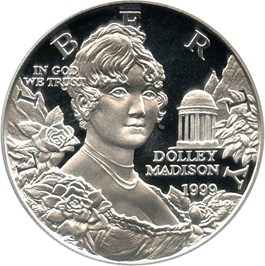 Image of 1999-P Dolley Madison $1 PCGS Proof 69 DCAM