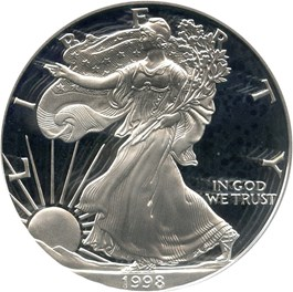 Image of 1998-P Silver Eagle $1 PCGS Proof 69 DCAM