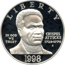 Image of 1998-S Black Patriots/Crispus Attucks $1 PCGS Proof 69 DCAM