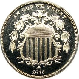 Image of 1873 5c PCGS/CAC Proof 66+ CAM (Closed 3)