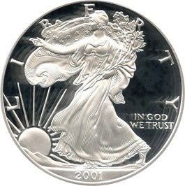 Image of 2001-W Silver Eagle $1 PCGS Proof 70 DCAM