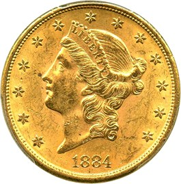 Image of 1884-S $20 PCGS/CAC MS61