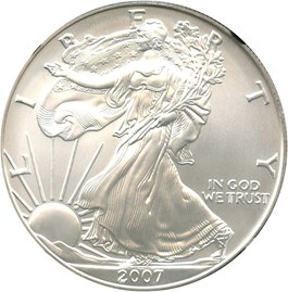 Image of 2007-W Silver Eagle $1 NGC MS70