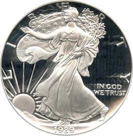 Image of 1989-S Silver Eagle $1 PCGS Proof 70 DCAM