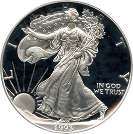 Image of 1993-P Silver Eagle $1 PCGS Proof 70 DCAM