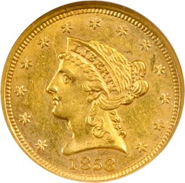 Image of 1858 $2 1/2 NGC/CAC AU58