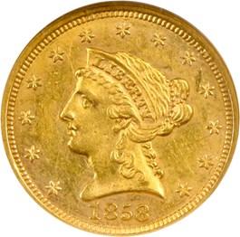 Image of 1858 $2 1/2 NGC/CAC AU58