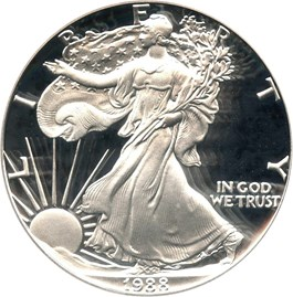 Image of 1988-S Silver Eagle $1 PCGS Proof 70 DCAM