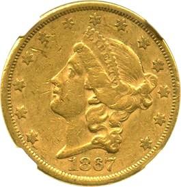 Image of 1867-S $20 NGC/CAC XF45