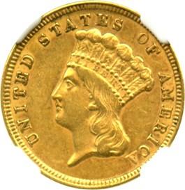 Image of 1854 $3 NGC/CAC AU55
