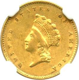 Image of 1855 G$1 NGC/CAC AU55 (Type 2)