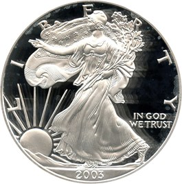 Image of 2003-W Silver Eagle $1 PCGS Proof 70 DCAM