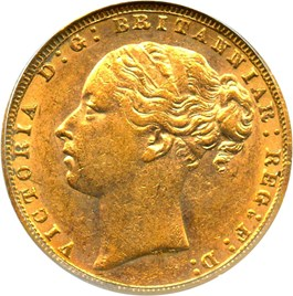Image of Great Britain: 1874 Gold Sovereign PCGS AU55 (KM-752) .2354oz Gold