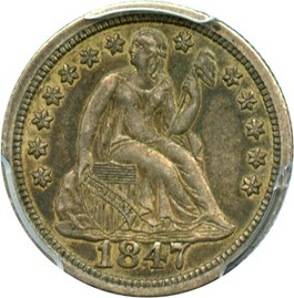Image of 1847 10c PCGS/CAC XF45