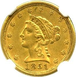 Image of 1851-O $2 1/2 NGC/CAC AU53