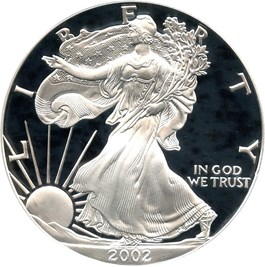 Image of 2002-W Silver Eagle $1 PCGS Proof 70 DCAM