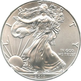 Image of 2011 Silver Eagle $1 NGC MS70 (25th Anniversary)