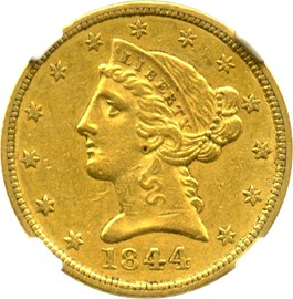 Image of 1844 $5 NGC/CAC AU55