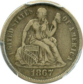 Image of 1867-S 10c PCGS/CAC VF25