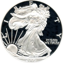 Image of 2005-W Silver Eagle $1 PCGS Proof 70 DCAM