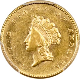Image of 1854 G$1 PCGS AU58 (Type 2)