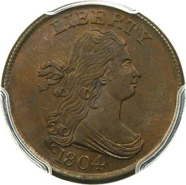 Image of 1804 1/2c PCGS/CAC MS64 BN (Crosslet 4, Stems)