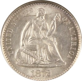 Image of 1872-S H10c NGC/CAC MS63 (Mintmark Above Wreath)