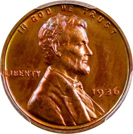 Image of 1936 1c PCGS/CAC Proof 65 RB (Type 1, Satin Finish)