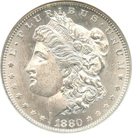 Image of 1880-CC $1 NGC/CAC MS64