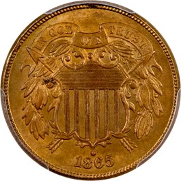 Image of 1865 2c PCGS MS65 RD