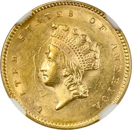 Image of 1854 G$1 NGC/CAC MS61 (Type 2)