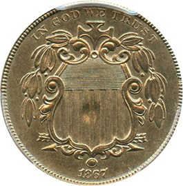 Image of 1867 5c PCGS AU58 (No Rays)