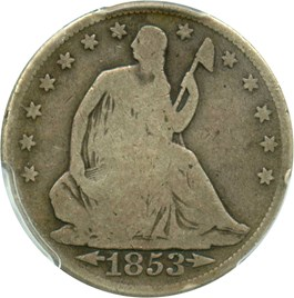 Image of 1853 50c PCGS Good-6 (Arrows & Rays)