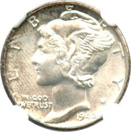 Image of 1942-D 10c NGC MS67 FB