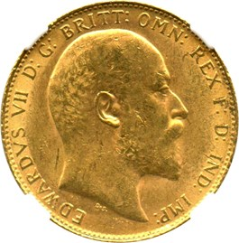 Image of Great Britain: 1908 Sovereign NGC MS61 (KM#805) 0.2354 oz Gold