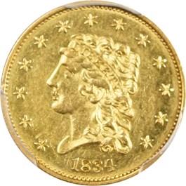 Image of 1834 Classic Head $2 1/2 PCGS AU58
